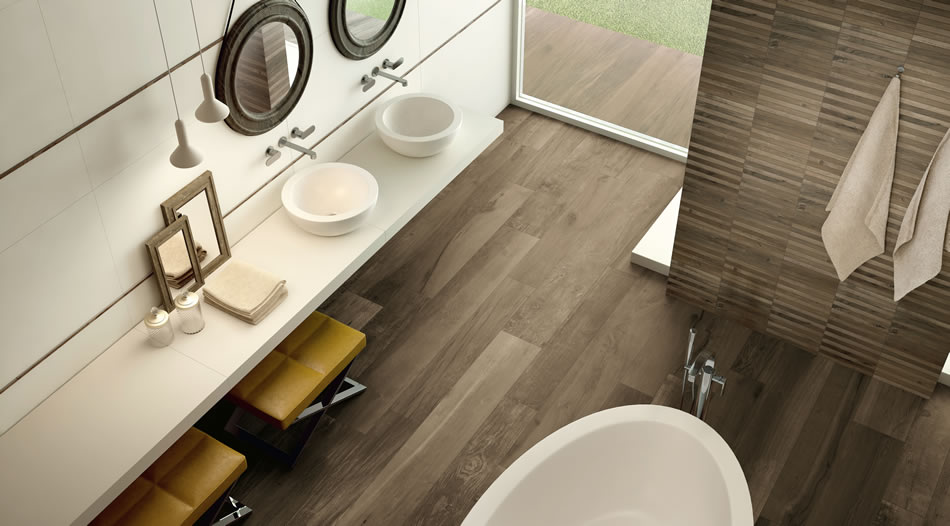 Keramisch parket bakker tegels badkamers - Badkamer zwart en hout ...
