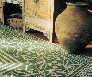 Vloertegels met groen tinten