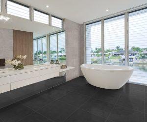 Donkere badkamervloer inspiratie